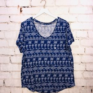 Loft top shirt blue print NWT xl